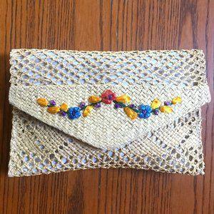 Straw Shoulder Bag Bermuda Floral Clutch
